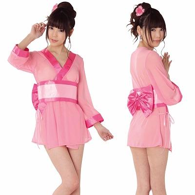 セクシー着物コスチューム/ピンクの撫子