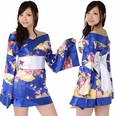 ミニ着物/青鶴柄・白帯コスチューム