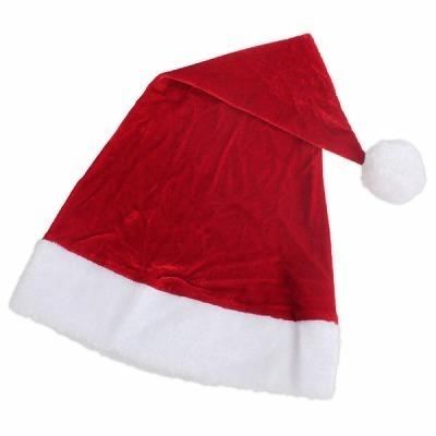 ポンポン付きの赤×白サンタ帽子(単品)。