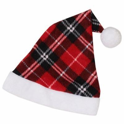 ポンポン付き赤チェックのサンタ帽子(単品)。