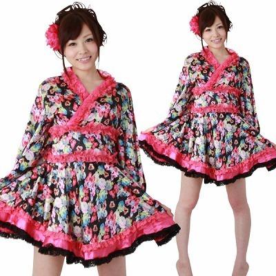 ミニ着物ドレス・フリル 黒 M