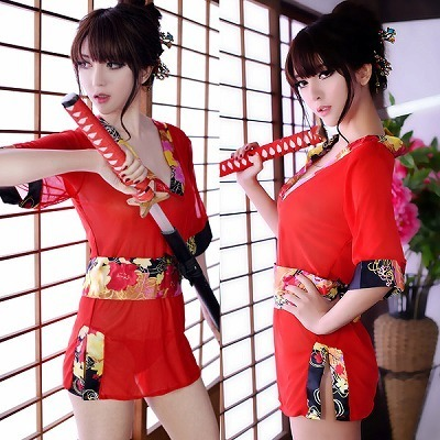 ミニ着物風・赤いシースルーのスリットドレス