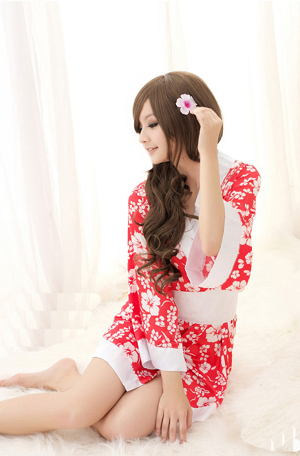 ハイビスカス柄・赤×白ミニ丈着物